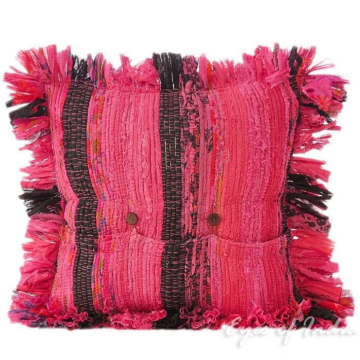 "12"" Small Burgundy Red Decorative Chindi Rag Rug Cushion"