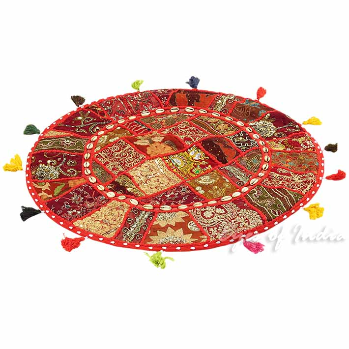 28-034-Red-Patchwork-Floor-Cushion-Seating-Pillow-Throw-Cover-Bohemian-Accent-India thumbnail 43