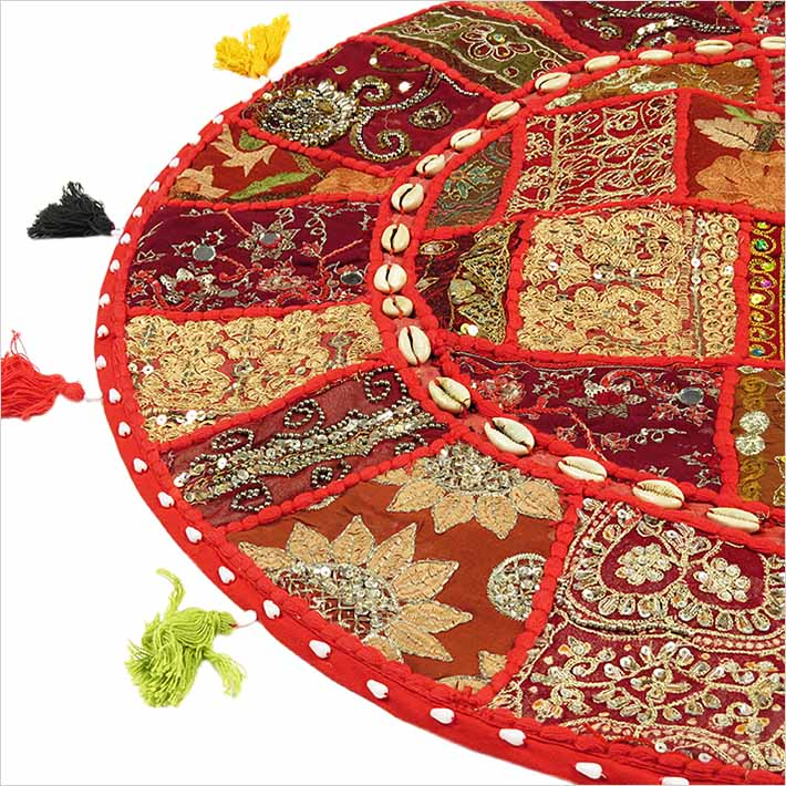 28-034-Red-Patchwork-Floor-Cushion-Seating-Pillow-Throw-Cover-Bohemian-Accent-India thumbnail 44