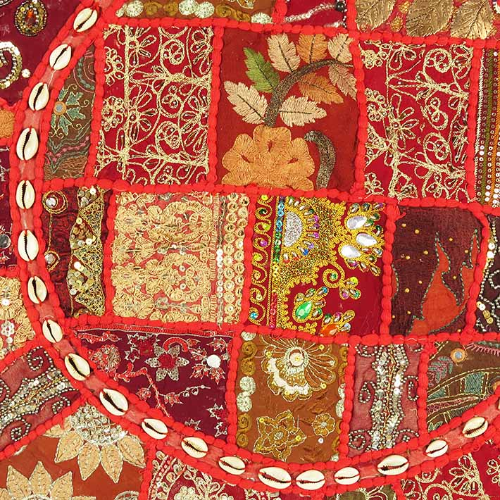 28-034-Red-Patchwork-Floor-Cushion-Seating-Pillow-Throw-Cover-Bohemian-Accent-India thumbnail 45