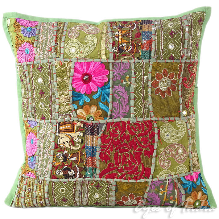 Olive Green Patchwork Colorful Decorative Bohemian Boho Sofa Throw Couch Pillow Cushion Cover 16