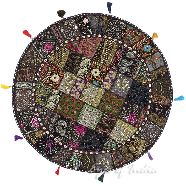 Black Patchwork Decorative Boho Round Colorful Floor Pillow Meditation Cushion Seating Cover - 40""
