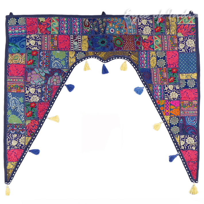 """Blue Patchwork Boho Bohemian Window Door Valance Wall Hanging Tapestry - 40"""""""