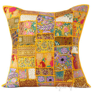 Yellow Colorful Decorative Patchwork Boho Throw Pillow Bohemian Couch Sofa Cushion Cover - 24""