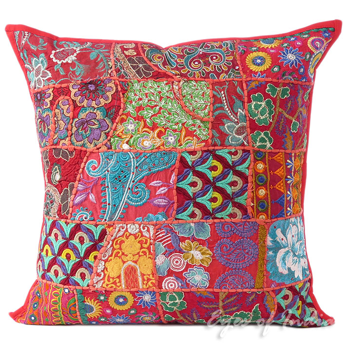 Red Colorful Decorative Patchwork Bohemian Sofa Couch Cushion Boho Pillow Cover Throw - 24""