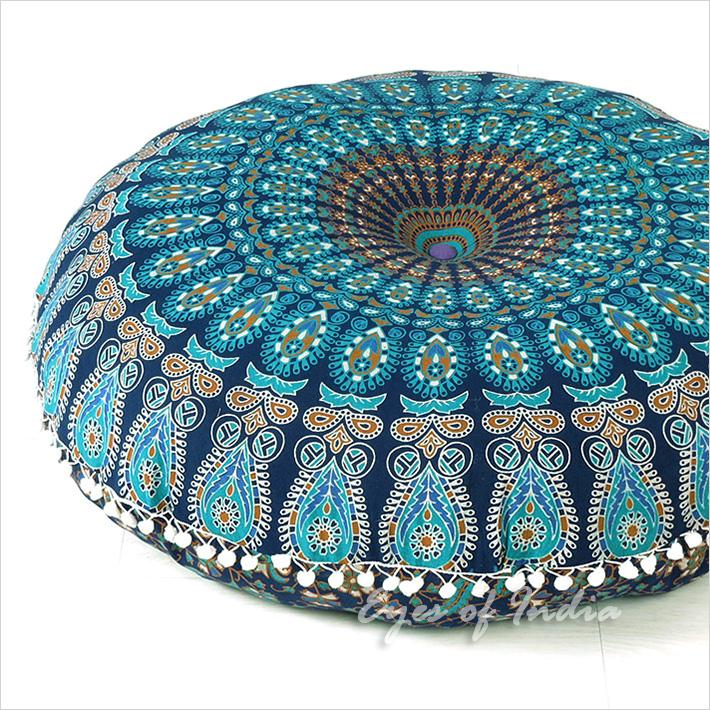 "Blue Round Mandala Floor Pillow Cover Meditation  Seating Throw Hippie Boho Dog Bed - 32"""