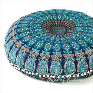 Blue Round Mandala Floor Pillow Cover Meditation  Seating Throw Hippie Boho Dog Bed - 32""