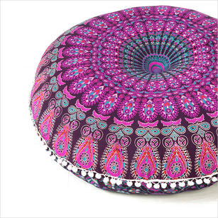Purple Colorful Round Mandala Decorative Accent Fllor Pillow Cover Throw Bohemian - 32""