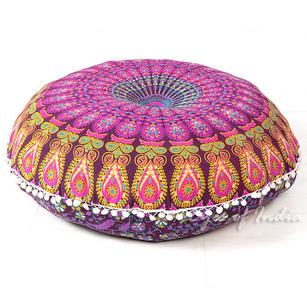 Decorative Seating Boho Mandala Bohemian Round Floor Cushion Dog Bed Throw Meditation Pillow Cover - 32""