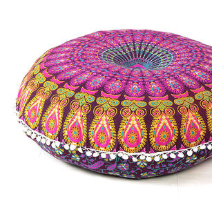 """Purple Large Colorful Floor Pillow Cover Bohemian Accent Boho Chic dog bed - 32"""""""