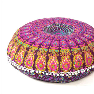 Purple Large Colorful Floor Pillow Cover Bohemian Accent Boho Chic dog bed - 32""
