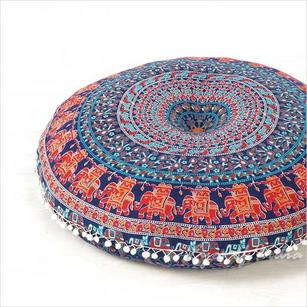 Blue Red Decorative Seating Round Floor Pillow Boho Mandala Bohemian Hippie Meditation Cushion Cover - 32""