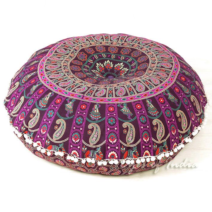 "Purple Round Colorful Mandala Meditation Floor Pillow Cover - 32"""