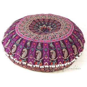 Purple Round Colorful Mandala Meditation Floor Pillow Cover - 32""
