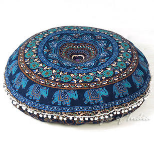 Blue Decorative Round Mandala Floor Pillow Cover dog bed Indian Handmade - 32""