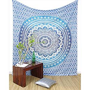 Colorful Ombre Hippie Mandala Wall Hanging Boho Tapestry Bedspread - Large/Queen