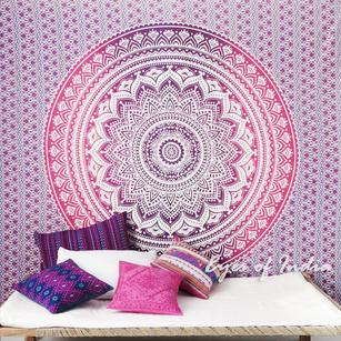 Colorful Ombre Hippie Mandala Wall Hanging Boho Tapestry Bedspread - Queen/Double