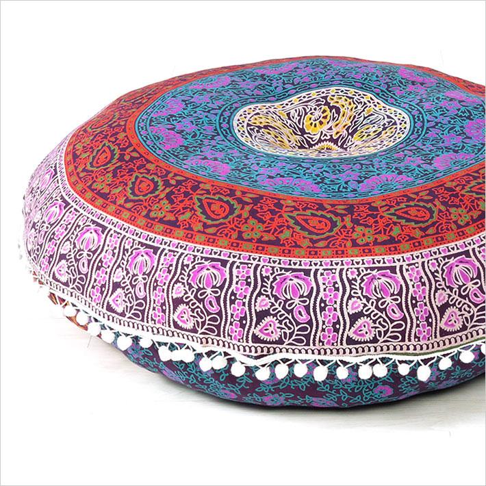 Blue Bohemian Decorative Seating Boho Mandala Throw Round Floor Meditation Cushion Pillow Cover 32