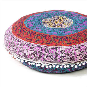 Blue Bohemian Decorative Seating Boho Mandala Throw Round Floor Meditation Cushion Pillow Cover - 32""