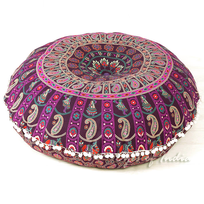 Colorful Boho Mandala Bohemian Round Floor Seating Meditation Pillow Hippie Cushion Throw Cover 32