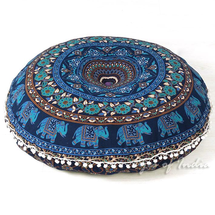 Indian Beautiful Blue /& White Floor Pillows Outdoor Cushion Mandala Pillow Floor Seating Cushion Mandala Print Round Cushion Outdoor Pouf