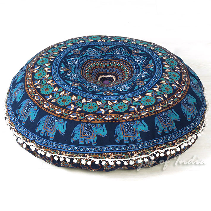 Blue Boho Mandala Decorative Seating Round Floor Meditation Cushion Throw Pillow Throw Cover - 32""