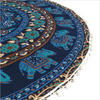 "Blue Boho Mandala Decorative Seating Round Floor Meditation Cushion Throw Pillow Throw Cover - 32"" 5"