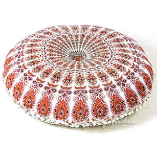 White Bohemian Round Floor Seating Meditation Pillow Boho Cushion Cover Hippie Mandala Style Throw - 32""