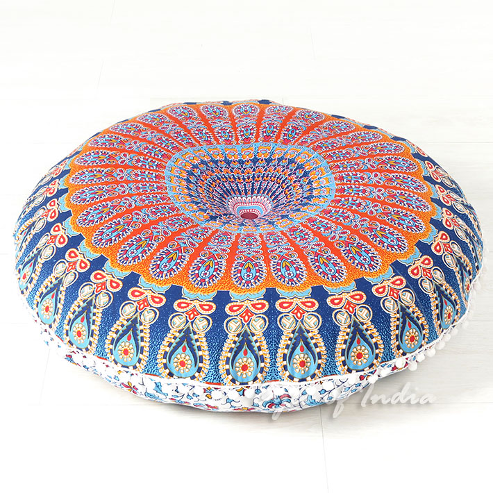 Decorative Seating Boho Floor Pillow Bohemian Meditation Cushion Cover Hippie Mandala - 32""
