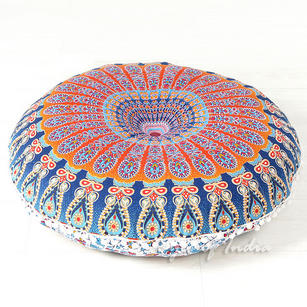 Decorative Seating Boho Round Colorful Floor Pillow Meditation Cushion Cover Hippie Mandala - 32""