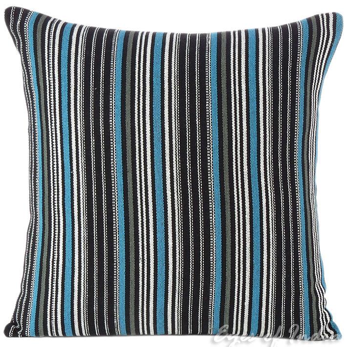 """Black Blue Dhurrie Boho Bohemian Decorative Sofa Throw Pillow Cushion Cover -16, 24"""""""