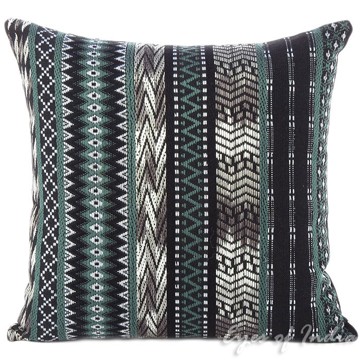 Black Grey Striped Dhurrie Moroccan Boho Colorful Sofa Throw Couch Pillow Cushion Cover - 16, 24""