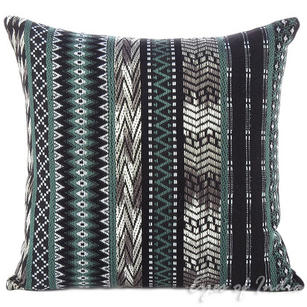 Black Grey Striped Dhurrie Moroccan Boho Decorative Throw Pillow Cushion Cover - 16, 24""