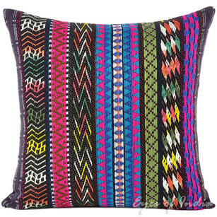 Black Pink Blue Striped Boho Bohemian Dhurrie Colorful Decorative Sofa Throw Couch Pillow Cushion Cover - 16, 24""