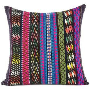 Black Pink Blue Striped Boho Dhurrie Colorful Decorative Sofa Throw Couch Pillow Cushion Cover - 16, 24""