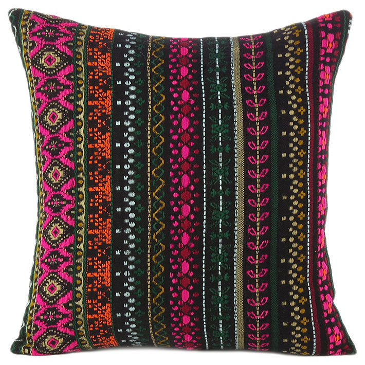 """Pink Black Dhurrie Striped Boho Kilim Colorful Decorative Sofa Throw Couch Pillow Cushion Cover - 16, 24"""""""