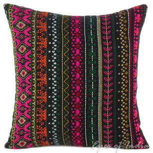 Pink Black Dhurrie Striped Boho Kilim Colorful Decorative Sofa Throw Couch Pillow Cushion Cover - 16, 24""