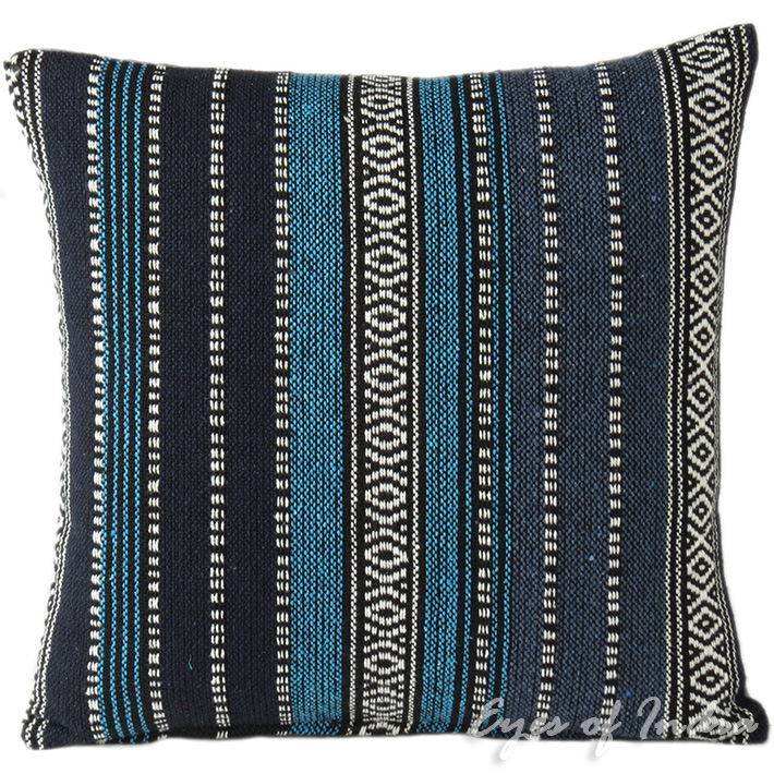 Blue Black Striped Boho Dhurrie Decorative Throw Sofa Pillow Couch Cushion Cover - 16, 18""