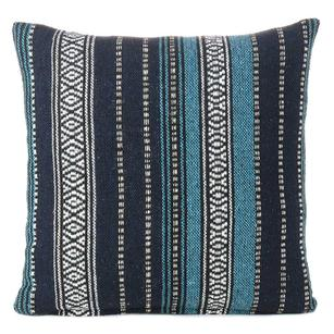 """Blue Black Striped Boho Dhurrie Colorful Decorative Throw Sofa Pillow Couch Cushion Cover - 16, 18"""""""