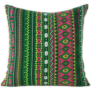 Green Pink Yellow Stripe Purple Dhurrie Colorful Sofa Throw Couch Pillow Cushion Cover - 16, 24""
