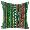 "Green Pink Yellow Stripe Bohemian Purple Dhurrie Decorative Sofa Throw Pillow Cushion Cover - 16, 24"" 1"