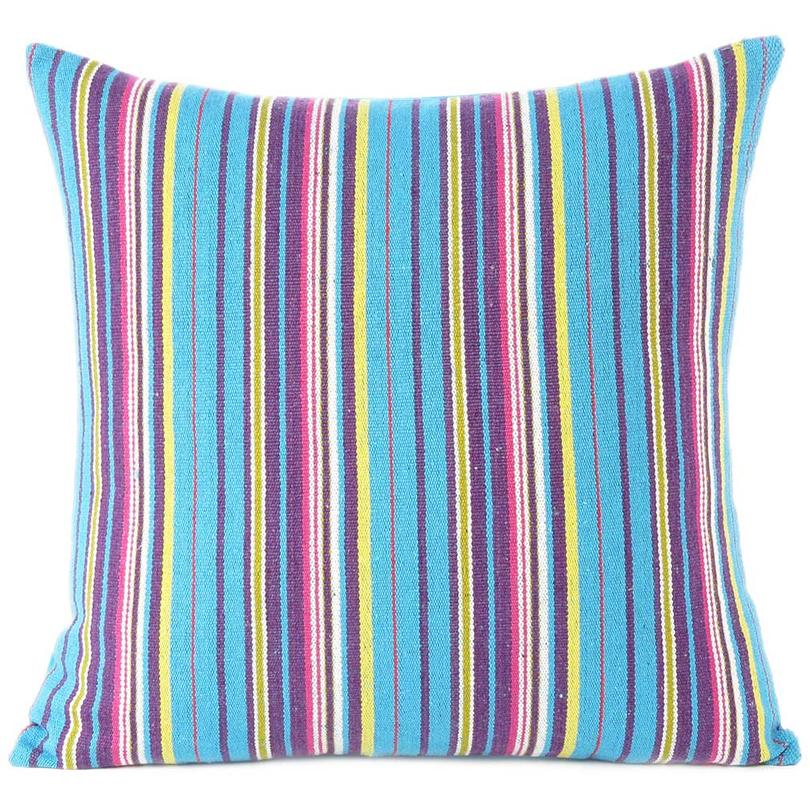 Blue Yellow Kilim Striped Boho Purple Dhurrie Colorful Sofa Throw Couch Pillow Cushion Cover - 16, 24""