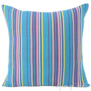 Blue Yellow Kilim Striped Boho Purple Dhurrie Decorative Throw Pillow Cushion Cover - 16, 24""
