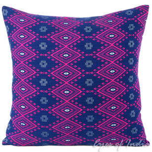 Purple Pink Blue Stripes Boho Kilim Dhurrie Colorful Decorative Sofa Throw Couch Pillow Cushion Cover - 16, 24""