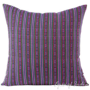 Striped Purple Green Kilim Moroccan Dhurrie Decorative Throw Pillow Cushion Cover - 16, 24""
