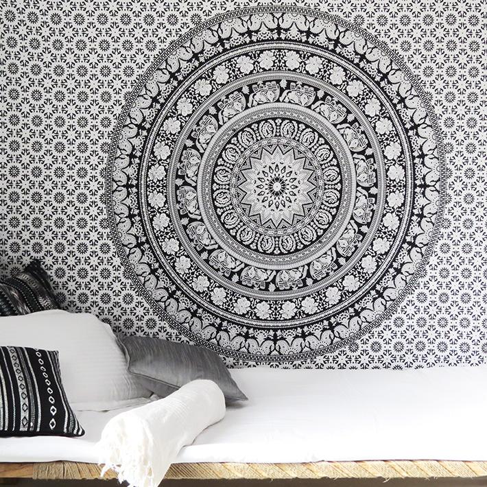 White Black Bohemian Elephant Mandala Hippie Boho Wall Tapestry - Small and Large