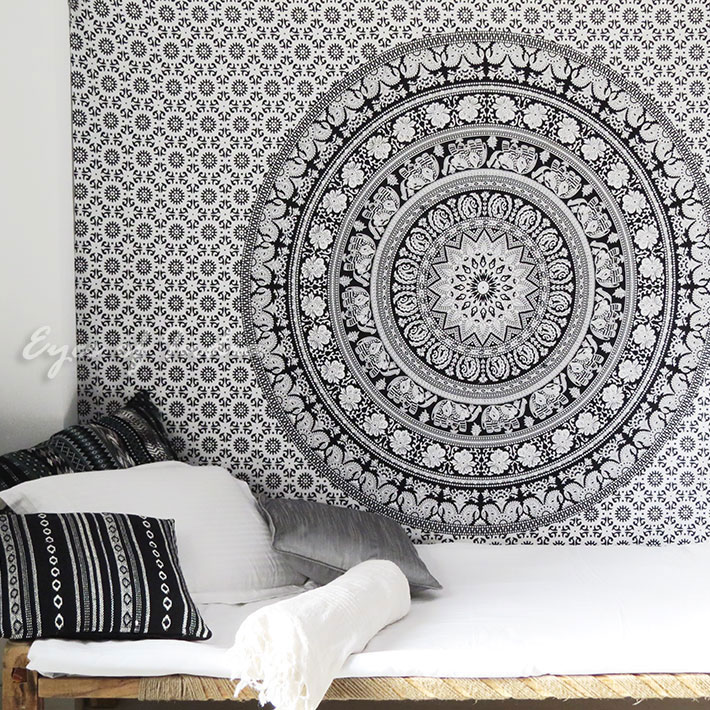 White Black Bohemian Elephant Mandala Hippie Boho Indian Wall Tapestry - Small and Large