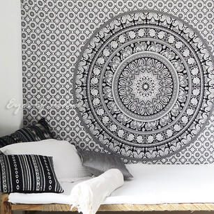 White Black Bohemian Elephant Mandala Hippie Boho Indian Wall Tapestry - Single, Double