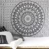 White Black Bohemian Elephant Mandala Hippie Boho Wall Tapestry - Small and Large 1