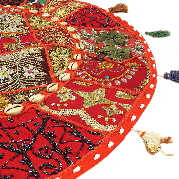 28-034-Red-Patchwork-Floor-Cushion-Seating-Pillow-Throw-Cover-Bohemian-Accent-India thumbnail 11